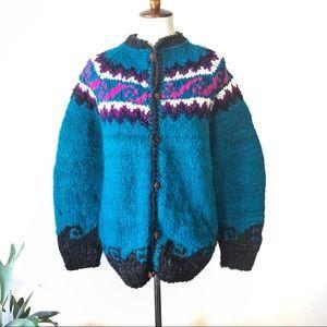 Vintage💖80s Chunky Wool Aztec Cardigan Sweater